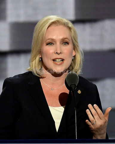 United States Senator Kirsten Gillibrand (Democrat of New York) makes remarks at the 2016 Democratic National Convention at the Wells Fargo Center in Philadelphia, Pennsylvania on Monday, July 25, 2016.<br /> Credit: Ron Sachs / CNP/MediaPunch<br /> (RESTRICTION: NO New York or New Jersey Newspapers or newspapers within a 75 mile radius of New York City)