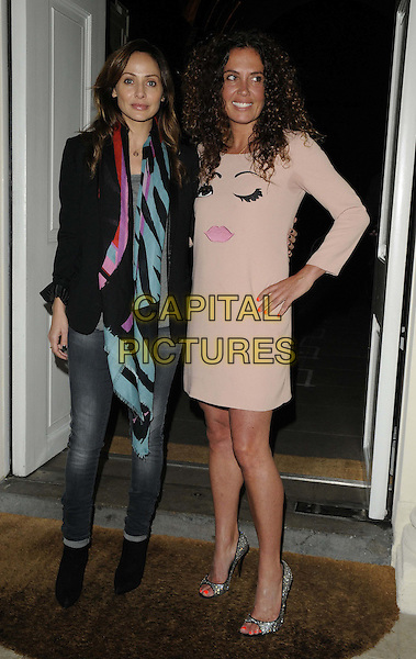 Natalie Imbruglia & Tara Smith.Tara Smith Vegan Haircare launch party at Sketch, London, England..September 26th 2012.full length black clutch bag pink dress face print eyes lips blazer jeans denim black red green scarf   sweat patch armpit.CAP/CAN.©Can Nguyen/Capital Pictures.