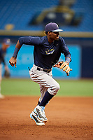 Osmy Gregorio (22) during the Tampa Bay Rays Instructional League Intrasquad World Series game on October 3, 2018 at the Tropicana Field in St. Petersburg, Florida.  (Mike Janes/Four Seam Images)