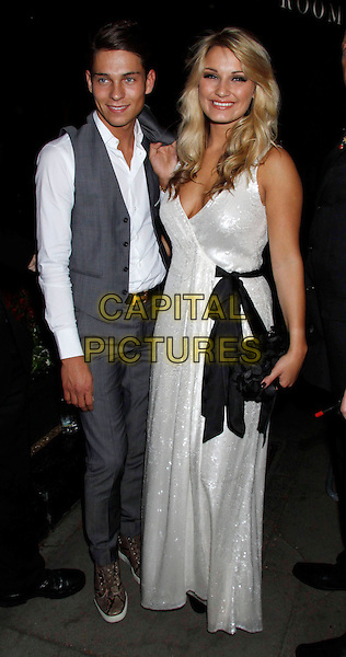 JOEY ESSEX & SAM FAIERS.The Philips British Academy Television Awards afterparty, London, England..May 22nd, 2011.TV Baftas Bafta full length shirt grey gray suit waistcoat couple TOWIE white dress black bow sash waist clutch bag .CAP/COA/CC.©CC/COA/Capital .