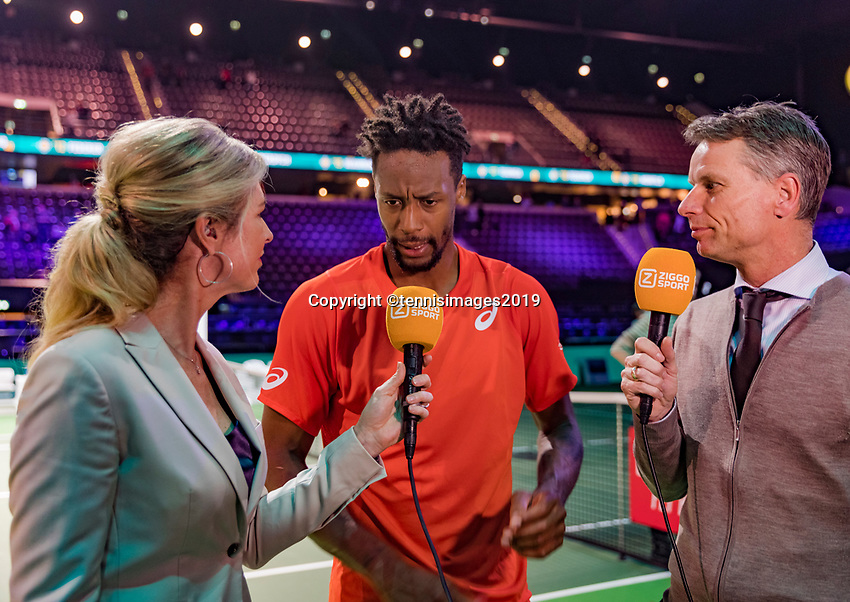 Rotterdam, The Netherlands, 17 Februari 2019, ABNAMRO World Tennis Tournament, Ahoy,   Winner Gael Monfils (FRA) being interviewed by Kristie Boogert and Jan Siemerink<br /> <br /> Photo: www.tennisimages.com/Henk Koster