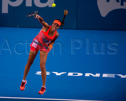 10.01.2016. Sydney, Australia. Ana Ivanovic (SRB) in action against Karolina Pliskova (CZE) during their women's singles  match on Day 1 at the Apia International tournament at the Apia International Sydney, Australia. Pliskova beat Ivanovic 6:4,  6:2