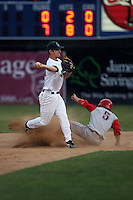 September 6 2008:  Second baseman Lonnie Lechelt of the Jamestown Jammers, Class-A affiliate of the Florida Marlins, during a game at Russell Diethrick Park in Jamestown, NY.  Photo by:  Mike Janes/Four Seam Images