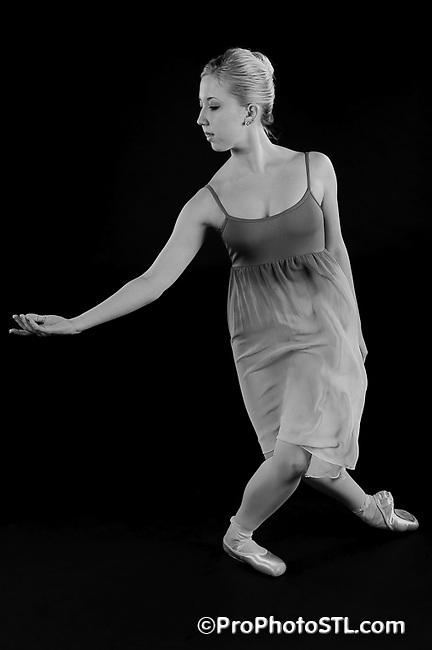 Missouri Ballet Theater studio shots in B&W with orange filter