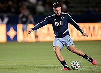 CARSON, CA - MARCH 07: Lucas Cavallini #9 of the Vancouver Whitecaps warming up during a game between Vancouver Whitecaps and Los Angeles Galaxy at Dignity Health Sports Park on March 07, 2020 in Carson, California.