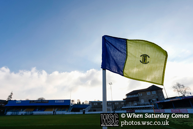 A club badge on the corner flag at the Look Local Stadium. Stocksbridge Park Steels v Pickering Town,  Evo-Stik East Division, 17th November 2018. Stocksbridge Park Steels were born from the works team of the local British Steel plant that dominates the town north of Sheffield.<br />