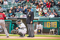 Umpire Brian Reilly handles the calls behind the plate and Jett Bandy (27) of the Salt Lake Bees during the Pacific Coast League game between the Salt Lake Bees and the Sacramento River Cats at Smith's Ballpark on August 27, 2015 in Salt Lake City, Utah.  (Stephen Smith/Four Seam Images)