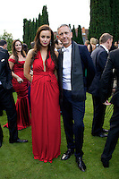 Camilla Al Fayed wearing Issa and Patrick Cox at Elton John's White Tie and Tiara Ball