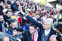 Arsenal manager Arsene Wenger goes out to see the travelling Arsenal fans who were chanting for him after the Premier League match between Huddersfield Town and Arsenal at the John Smith's Stadium, Huddersfield, England on 13 May 2018. Photo by Thomas Gadd / PRiME Media Images.