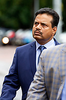 Pictured: Khitish Mohanty arrives at Cardiff Crown Court, Cardiff, Wales, UK. Monday 07 October 2019<br /> Re: An orthopaedic surgeon has appeared in crown court to plead not guilty to two historical sex offence charges.<br /> Khitish Mohanty, 52, from Cardiff, denies allegations that he assaulted a woman on two occasions.<br /> The alleged assaults happened on 17 October 2005.