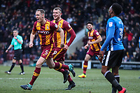 Matt Kilgallon of Bradford City celebrates scoring the first goal of the game for Bradford City during the Sky Bet League 1 match between Bradford City and Rochdale at the Northern Commercial Stadium, Bradford, England on 9 December 2017. Photo by Thomas Gadd.