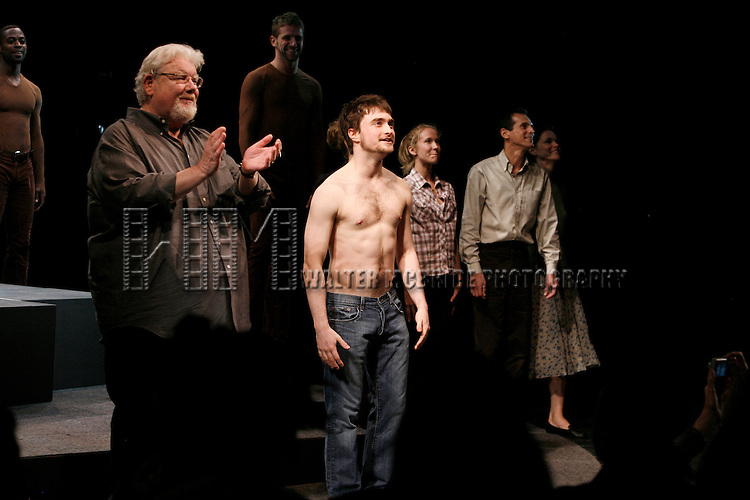 Richard Griffiths & Daniel Radcliffe & ensemble.during the Curtain Call for the Opening Night Performance of EQUUS at the Broadhurst Theatre in New York City..September 25, 2008..