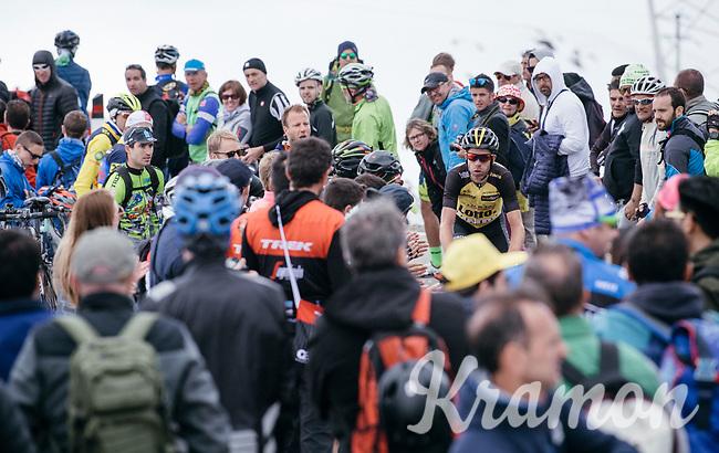 Bram Tankink (NED/LottoNL-Jumbo) making his way up the Passo dello Stelvio (alt: 2758m) between the fans<br /> <br /> Stage 16: Rovett &rsaquo; Bormio (222km)<br /> 100th Giro d'Italia 2017