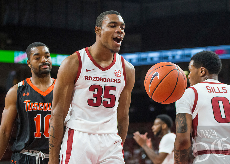 NWA Democrat-Gazette/BEN GOFF @NWABENGOFF <br /> Reggie Chaney of Arkansas reacts after a basket in the first half vs Tusculum Friday, Oct. 26, 2018, during an exhibition game in Bud Walton Arena in Fayetteville.
