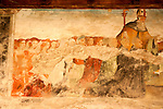 A 15th century fresco in the cloister of the Santa Maria delle Grazie Church in Gravedona, a town on Lake Como Italy