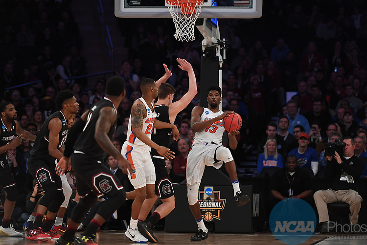 NEW YORK, NY - MARCH 26: Kevarrius Hayes #13 of the Florida Gators during the 2017 NCAA Men's Basketball Tournament held at Madison Square Garden on March 26, 2017 in New York City. (Photo by Justin Tafoya/NCAA Photos via Getty Images)