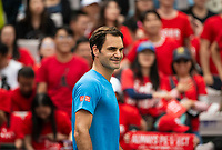 SHANGHAI - OCTOBER 6: Roger Federer of Switzerland practices before the start of the Rolex Shanghai Masters at Qi Zhong Tennis Centre on October 6, 2018 in Shanghai, China