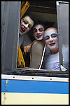 Marcelo Iribarne, Fabricio Cauteluccio and Tabare Charlo are seen in the bus as Contrafarsa makes it's way to the inaugural parade of the Uruguayan Carnival. For more than a month, every night after the parade, the Contrafarsa members travel in the same bus from neighbourhood to neighbourhood,  to act in the tablados ( a neighbourhood theatre built specially for the Carnival) in Montevideo, the capital city of Uruguay.