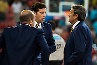 Herbalife Gran Canaria's coach Luis Casimiro talking with his assistants during the final of Supercopa of Liga Endesa Madrid. September 24, Spain. 2016. (ALTERPHOTOS/BorjaB.Hojas) NORTEPHOTO.COM