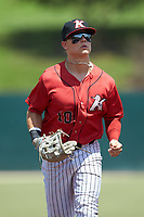 Kannapolis Intimidators center fielder Steele Walker (10) jogs off the field between innings of the game against the Greensboro Grasshoppers at Kannapolis Intimidators Stadium on August 5, 2018 in Kannapolis, North Carolina. The Grasshoppers defeated the Intimidators 2-1 in game one of a double-header.  (Brian Westerholt/Four Seam Images)