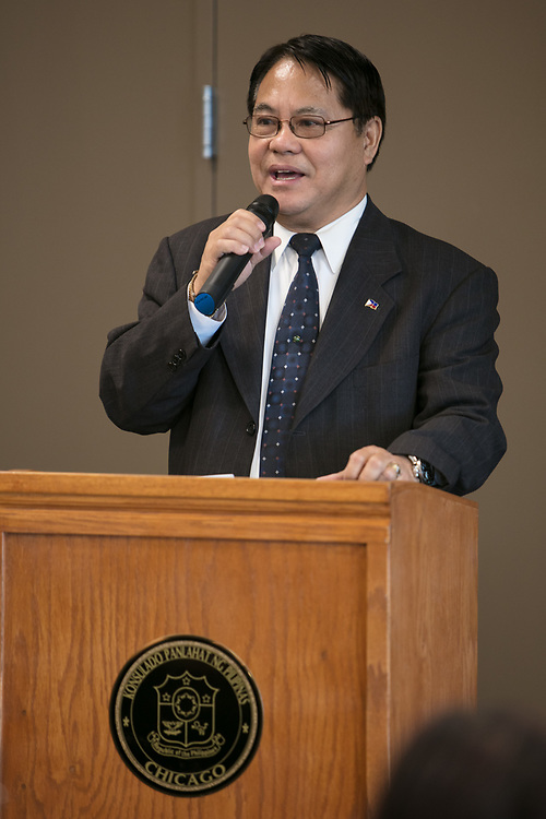 Generoso D.G. Calonge, Consul General of the Philippines, gives welcoming remarks at a reception with the Filipino-American community, Thursday, Aug. 17, 2017, at the Consulate General of the Philippines in Chicago. The event introduced the Estebans to the Filipino-American community in Chicago. (DePaul University/Jeff Carrion)