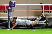 Chris Cook of Bath Rugby dives for the try-line. European Rugby Challenge Cup match, between Bristol Rugby and Bath Rugby on January 13, 2017 at Ashton Gate Stadium in Bristol, England. Photo by: Patrick Khachfe / Onside Images