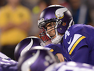Canton, Ohio - August 9, 2015: Minnesota Vikings QB Mike Kafka calls a play before a snap during a preseason game against the Pittsburgh Steelers at the Hall of Fame Stadium in Canton, Ohio, August 9, 2015.  (Photo by Don Baxter/Media Images International)