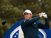 23.09.2014. Gleneagles, Auchterarder, Perthshire, Scotland.  The Ryder Cup.  Lee Westwood (EUR) tees off on the 18th hole during his practice round.