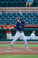 AZL Brewers left fielder Jesus Lujano (26) at bat against the AZL Giants on August 15, 2017 at Scottsdale Stadium in Scottsdale, Arizona. AZL Giants defeated the AZL Brewers 4-3. (Zachary Lucy/Four Seam Images)