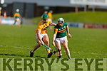 Kerry's Padraig Boyle and Antrim's Stephen Rooney contest for possession in the NHL Div 2A hurling game in Austin Stack Park on Sunday