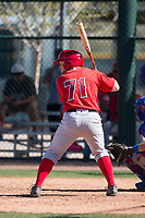 Los Angeles Angels second baseman Zane Gurwitz (71) during a Minor League Spring Training game against the Chicago Cubs at Sloan Park on March 20, 2018 in Mesa, Arizona. (Zachary Lucy/Four Seam Images)
