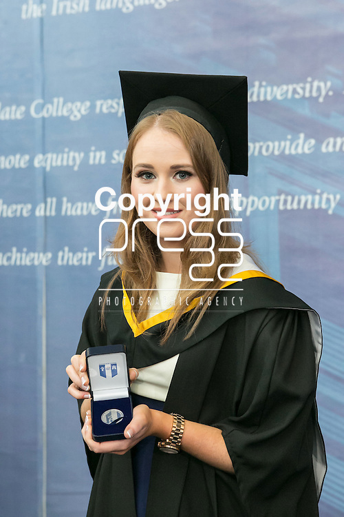 Pictured at the recent Mary Immaculate College (MIC) graduation was Michelle Enright (BA graduate) from Askeaton, Limerick, who was awarded the College Silver Medal for coming first place in Gaeilge. 625 students from 20 counties and 3 continents were conferred with academic awards across the College&rsquo;s 27 programmes in addition to the College&rsquo;s 100th PhD award.<br /> Picture Credit Brian Gavin Press 22
