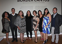 NWA Democrat-Gazette/CARIN SCHOPPMEYER Sonia Davis-Gutierrez (from left), Luis Restrepo, Magdalena Arroyo, Zessna Garcia-Rios, Alejandra Flores, __, Jivette De Jesus and Allan Aguilar, Crystal Bridges advisory committee, attend the Border Cantos preview.