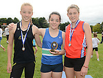 Emma Cheshire Dunleer AC 3rd, Niamh Tenanty Ardee AC 1st and Kate O'Connor St Gerrards AC Dundalk 2nd in the girls under 14 at Ardee sports day. Photo:Colin Bell/pressphotos.ie