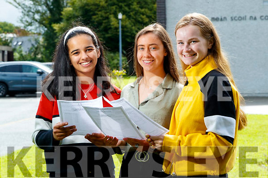 Zara Riaz (Tralee), Sadbh Kilgallen (The Spa) and Ciara Boyd (Tralee), Presentation Secondary School, Tralee, who received their Leaving Certificate results on Tuesday morning last.