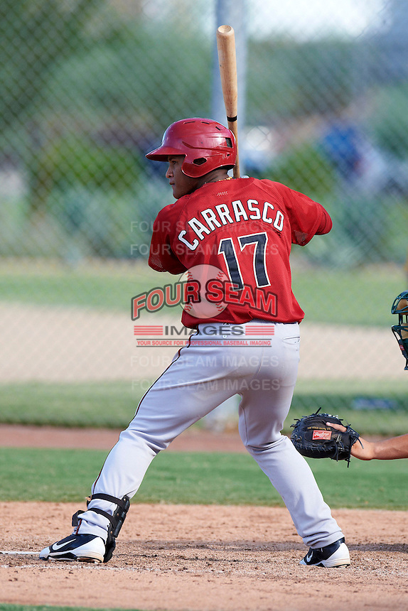 Arizona Diamondbacks minor league infielder Cesar Carrasco #17 during an instructional league game against the Oakland Athletics at the Salt River Flats Complex on October 5, 2012 in Scottsdale, Arizona.  (Mike Janes/Four Seam Images)
