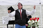 """1/22/13/  Jackson MS -Flip Benham, leader of Operation Save America (OSA) speaks on the steps of the Mississippi State capital on the 40th Anniversary of Roe-v-Wade.  Governor Bryant is attempting to close the clinic by making strict laws for the clinic and having the doctors have admitting privileges at local hospitals. The clinic is unable to comply with State law and is fighting to stay open. Governor Phil Bryant joins the PLAN (Pro Life America Network) and speaks at the Mississippi State capital in support of his Pro Life agenda on the 40th Anniversary of Roe-v-Wade. Governor Bryant asked  for people to """"pray for the unborn babies"""" and Bryant is pushing hard to close the States only operating Abortion Clinic. Photo© Suzi Altman"""