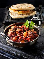 Piri Piri Chicken curry & rice, Indian food recipe  pictures, photos & images