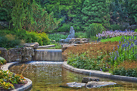 View of the a waterfall in the stream at the Royal Botanical Gardens in Hamilton / Burlington at the Rock Garden.