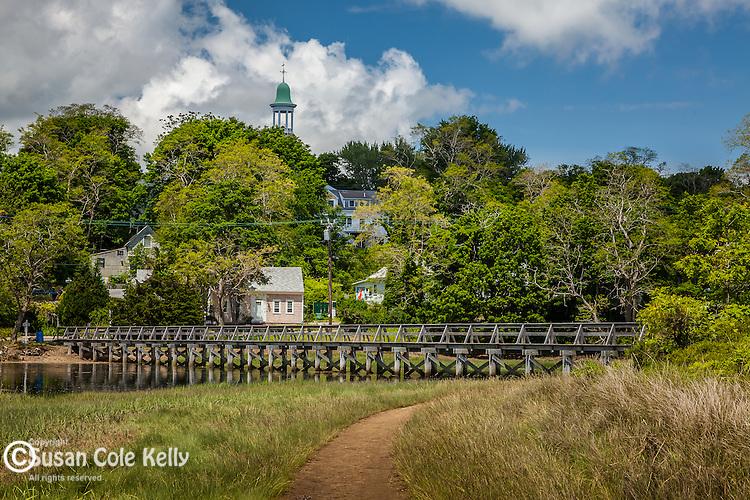 The Wellfleet townhall over Duck Creek in Wellfleet, Cape Cod, Massachusetts, USA