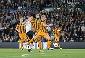 8th September 2017, Pride Park Stadium, Derby, England; EFL Championship football, Derby County versus Hull City; Matej Vydra of Derby County on the ball gets boxed in by Hull City players