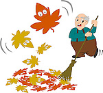Stock Vector illustration of an angry grandpa sweeping away the autumn leaves with broom, and funny and scared looking autumn leaves blowing away.<br />