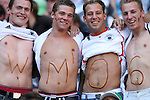 """14 June 2006: Four Germany fans with """"WM'06"""" on their chests. Tunisia and Saudi Arabia tied 2-2 at the Allianz Arena in Munich, Germany in match 16, a Group H first round game, of the 2006 FIFA World Cup."""