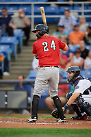 Erie SeaWolves first baseman Blaise Salter (24) at bat in front of catcher Patrick Mazeika (11) during a game against the Binghamton Rumble Ponies on May 14, 2018 at NYSEG Stadium in Binghamton, New York.  Binghamton defeated Erie 6-5.  (Mike Janes/Four Seam Images)