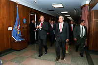 Sept. 17, 2001, Washington, DC, United States<br /> <br /> President George W. Bush (left) and Secretary of Defense Donald H. Rumsfeld walk to a meeting in the Pentagon on Sept. 17, 2001. Bush and Vice President Dick Cheney met with Rumsfeld and other members of the national security team at the Pentagon