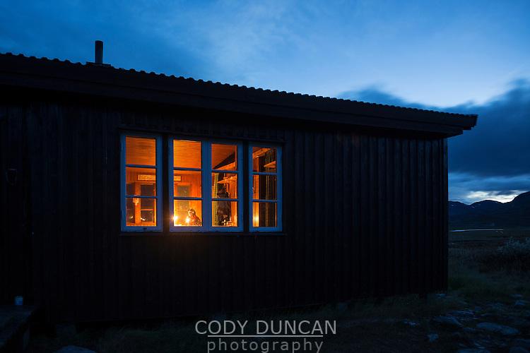 Singi hut at night, Kungsleden trail, Lappland, Sweden