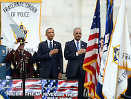 May 15, 2013  (Washington, DC)  President Barack Obama and U.S. Attorney General Eric Holder, Jr., honor the colors at the 32nd Annual Peace Officers memorial Service on the west lawn of the U.S. Capitol.  (Photo by Don Baxter/Media Images International)
