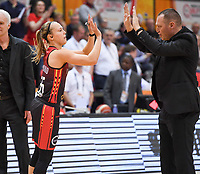 20200206 – OOSTENDE ,  BELGIUM : Belgian Julie Allemand (55) pictured with Belgian head coach Philip Mestdagh during a basketball game between the national teams of Canada and the National team of Belgium named the Belgian Cats on the first matchday of the FIBA Women's Qualifying Tournament 2020 , on Thursday 6  th February 2020 at the Versluys Dome in Oostende  , Belgium  .  PHOTO SPORTPIX.BE   DAVID CATRY