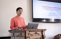 Allen Chen '19<br /> Students, faculty and staff gather on Thursday, May 2, 2019 in the JSC Morrison Lounge for the Sociology Senior Comps presentations, awards ceremony, and year-end celebration.<br /> (Photo by Marc Campos, Occidental College Photographer)