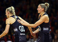 16.07.2015 Silver Ferns Casey Kopua and Katrina Grant in action during the Silver Fern v Fiji netball test match played at Te Rauparaha Arena in Porirua. Mandatory Photo Credit ©Michael Bradley.
